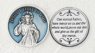 12-Pack - Light Blue Enameled Divine Mercy Token with Prayer Silver Plated