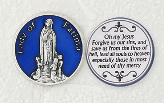 12-Pack - Blue Enameled Lady of Fatima Token with Prayer Silver Plated