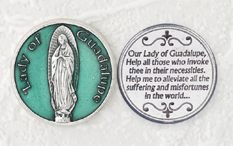 12-Pack - Green Enameled Lady of Guadalupe Token with Prayer Silver Plated