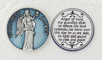 12-Pack - Light Blue Enameled Guardian Angel Token with Prayer Silver Plated