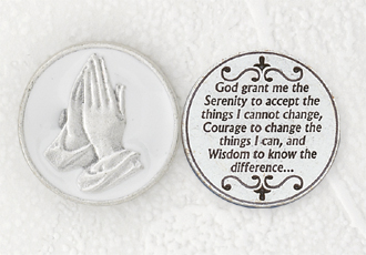 12-Pack - White Enameled Serenity Prayer Token with Prayer Silver Plated