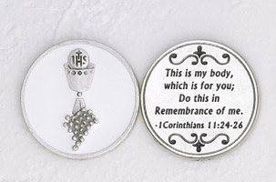 12-Pack - Enameled Chalice White Token with Prayer Silver Plated