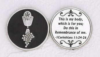 12-Pack - Enameled Chalice Black Token with Prayer Silver Plated