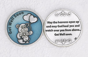 12-Pack - Enameled Get Well Soon Token with Prayer Silver Plated
