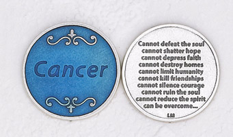 12-Pack - Enameled Cancer encouragement Token with Prayer Silver Plated