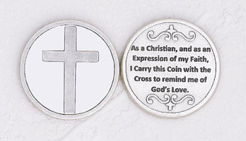12-Pack - Cross in Pocket Enameled Token with Prayer Silver Plated