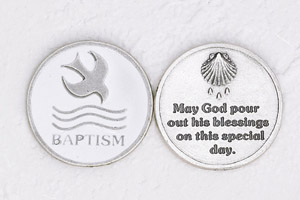 12-Pack - Enameled Baptism- WHITE Token with Prayer Silver Plated