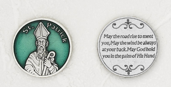 12-Pack - St Patrick Enamel Token with Prayer Silver Plated