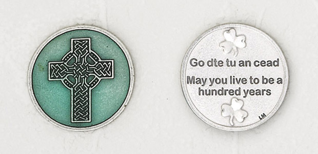 12-Pack - Celtic Cross Enamel Token with Prayer Silver Plated