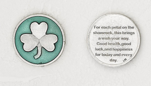 12-Pack - Shamrock Enamel Token with Prayer Silver Plated