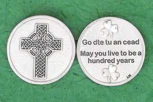 25-Pack - Irish Coin - Celtic Cross- May you live to be a hundred years