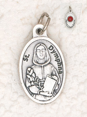 25-Pack - St Dymphna Pendant with Third Class Relic on back