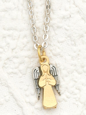 "2 Tone Gold and Silver Angel with 24"" Stainless Steel Chain"