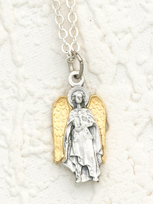 Two Toned 18K Gold Plated & Silver Archangel Uriel with Necklace- 24 inch