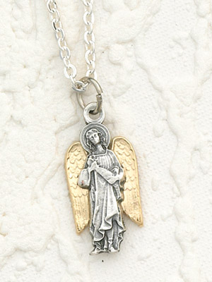 Two Toned 18K Gold Plated & Silver Archangel Raphael with Necklace- 24 inch