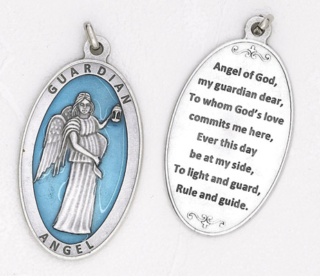 Guardian Angel approx 3-1/2 inch Enameled Pendant