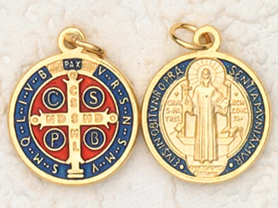 12-Pack - 3/4 inch Enameled St Benedict Pendant Gold Plated