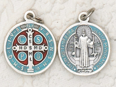 "25-Pack - 3/4"" St Benedict Enameled Pendant- Light blue"