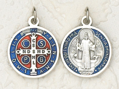 6-Pack - 3/4 inch Enameled St Benedict Pendant Silver tone