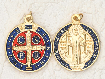 6-Pack - 1-1/4 inch Blue Enameled and Gold Plated St Benedict Pendant