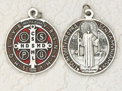 6-Pack - 1-1/4 Inch Brown Enameled St Benedict Pendant