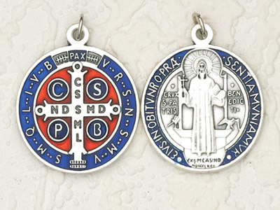 6-Pack - 1-1/4 inch Blue Enameled Silver St Benedict Pendant