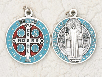 "25-Pack - 3/4"" St Benedict Enameled Pendant- Lt Blue"