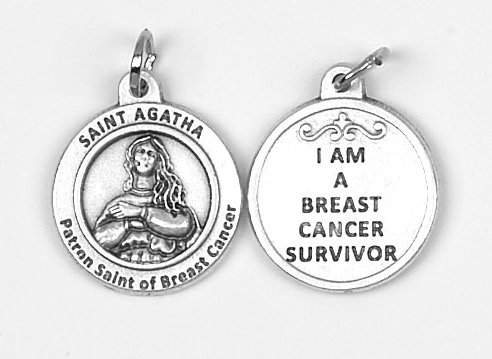 25-Pack - Healing Saints 3/4 inch Pendant with Saint Agatha-Patron Saint of Breast Cancer