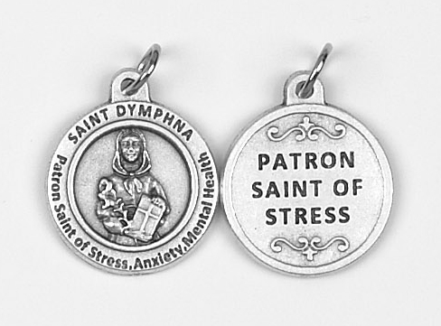 25-Pack - Healing Saints 3/4 inch Pendant with Saint Dymphna - Patron Saint of Stress, Anxiety and Mental Health