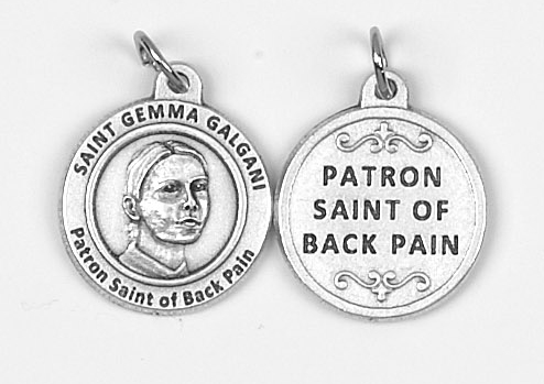 25-Pack - Healing Saints 3/4 inch Pendant with Saint Gemma - Patron Saint of Back Pain