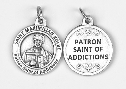 25-Pack - Healing Saints 3/4 inch Pendant with Saint Max Kolbe - Patron Saint of Addictions
