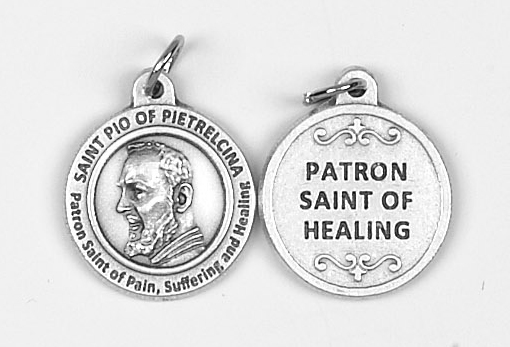 25-Pack - Healing Saints 3/4 inch Pendant with Saint Pio of Pietrelcina - Patron Saint of Pain, Suffering and Healing