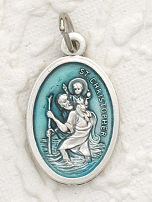 St Christopher Enameled Aqua Pendant & Chain