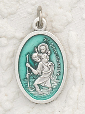 St Christopher Enameled Green Pendant & Chain