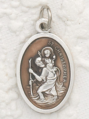 St Christopher Enameled Brown Pendant & Chain