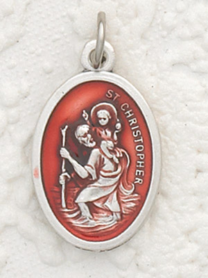 St Christopher Red Enameled Pendant & Chain