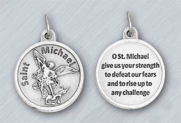25-Pack - 3/4 inch Silver Plated St Michael Pendant with Prayer on back