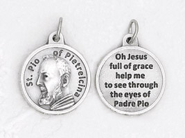 25-Pack - 3/4 inch Silver Plated Padre Pio Pendant with Prayer on back -Pray Hope Don't Worry