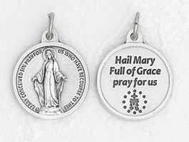 25-Pack - 3/4 inch Silver Plated Miraculous Medal with Prayer on back