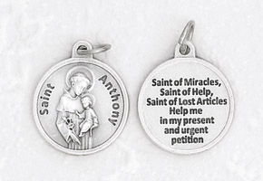 25-Pack - 3/4 inch Silver Plated St Anthony Pendant with Prayer on back
