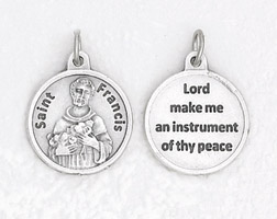 25-Pack - 3/4 inch Silver Plated St Francis Pendant with Prayer on back