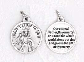 25-Pack - 3/4 inch Silver Plated Devine Mercy Pendant with Prayer on back