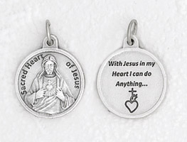 25-Pack - 3/4 inch Silver Plated Sacred Heart of Jesus Pendant with Prayer on back