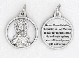 25-Pack - 3/4 inch Silver Plated Immaculate Heart of Mary Pendant with Prayer on back