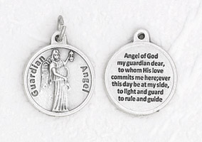 25-Pack - 3/4 inch Silver Plated Angel of GOD Pendant with Prayer on back