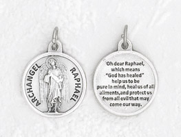 25-Pack - 3/4 inch Silver Plated Archangel Raphael Pendant with Prayer on back