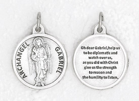25-Pack - 3/4 inch Silver Plated Archangel Gabriel Pendant with Prayer on back