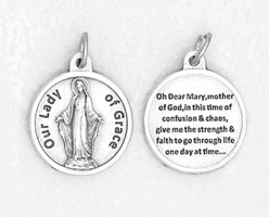 25-Pack - 3/4 inch Silver Plated Our Lady of Grace Pendant with Prayer on back