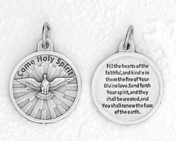 3/4 inch Silver Plated Come Holy Spirit Pendant with Prayer on back