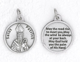 25-Pack - 3/4 inch Silver Plated St Patrick Pendant with Prayer on back